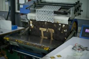 A foil stamping machine.