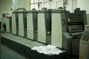 The heart of Lijia's print operations: A 5-color offset print stack.